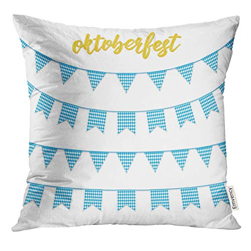 UPOOS Throw Pillow Cover White Fest Oktoberfest Buntings for Garland of Bavarian Checkered Blue Flag and Hand Lettering October Decorative Pillow Case Home Decor Square 16x16 Inches -