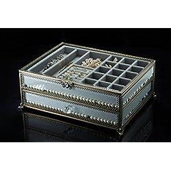 PuTwo Jewelry Boxes 22 Sections Metal Glass Jewelry Organizer Velvet Jewelry Tray Jewelry Box