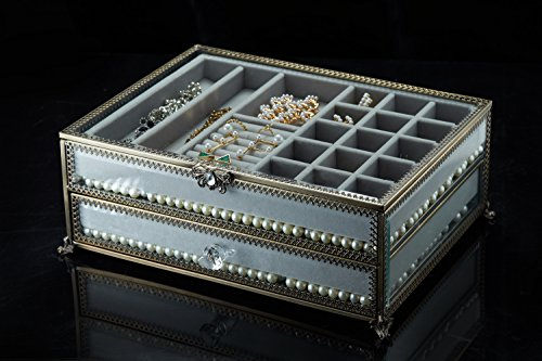 PuTwo Jewelry Boxes 22 Sections Metal Glass Jewelry Organizer Velvet Jewelry Tray Jewelry Box by PuTwo