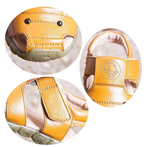 Eagsouni® Sandalias Punta Cerrada para Niños, Suave Sandalias de cuero para niño Anti-deslizante Zapatos de Playa,tamaño:21-36 blanco