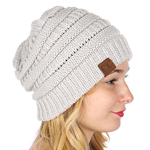 SERENITA C.C Unisex Warm Chunky Soft Marled Cable Knit Slouchy Beanie Hat Light - Felt Chunky