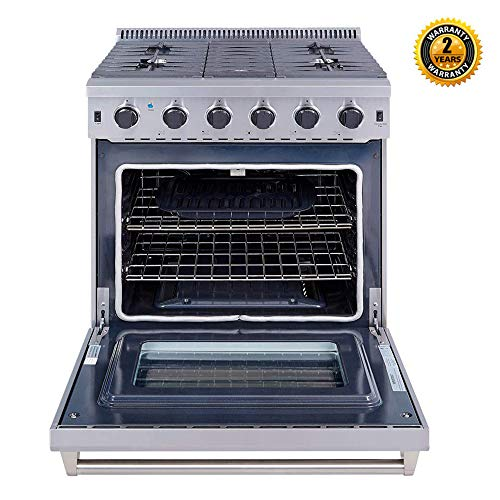 Thor Kitchen 30 inch Freestanding Pro-Style Professional Gas Range with 6.0 cu.ft. Oven, 5 Burners, in Stainless Steel – LRG3001U