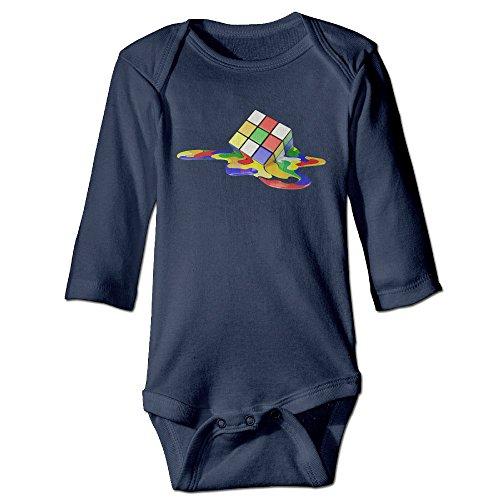 Babe Ruth Baby Costume (NINJOE NewBorn Puzzle Rubik Long Sleeve Bodysuit Baby Onesie Navy 12 Months)
