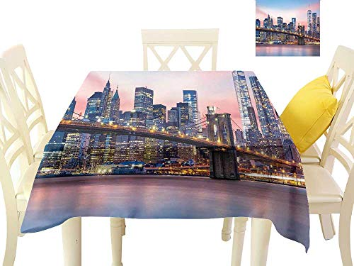 (Angoueleven New York,Wholesale tablecloths Brooklyn Bridge and Lower Manhattan Skyline Under Pink Sunrise Long Exposure Art Image,Modern Dining Table Cover W 50