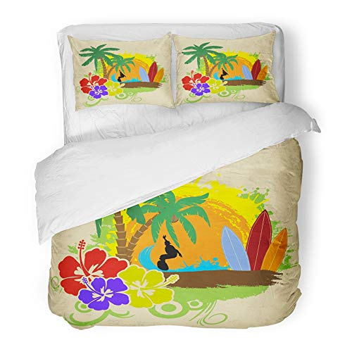 Emvency Bedding Duvet Cover Set Full/Queen Size (1 Duvet Cover + 2 Pillowcase) Brown Hawaii Tropical with Surfer Hibiscus Flowers and Palm Trees On Vintage Green Hotel Quality Wrinkle by Emvency