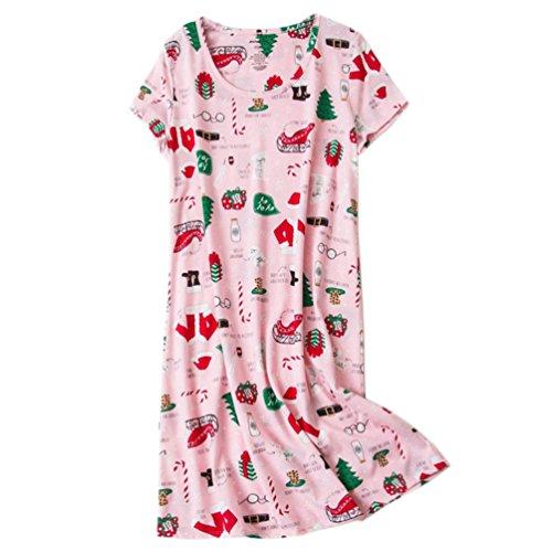 23862d7007 ENJOYNIGHT Womens  Short Sleeve Nightgown Print Sleep Dress Cute Sleepwear  (X-Large
