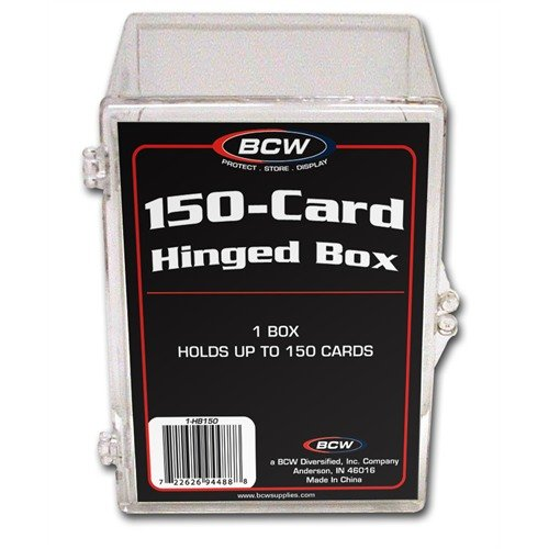 150 TRADING CARD HINGED BOX - SHIPPING PACKAGE QUANTITY OF 5 PER ORDER (HOLDS 150 TRADING CARDS)