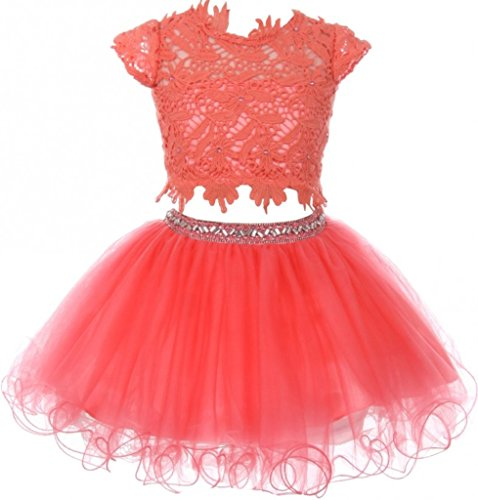 Plaid Smocked Top Dress (Flower Girl Dress 2 Pieces Set Lace Top Tulle Skirt Rhinestone Waist for Little Girl Coral 16 CC.5023)