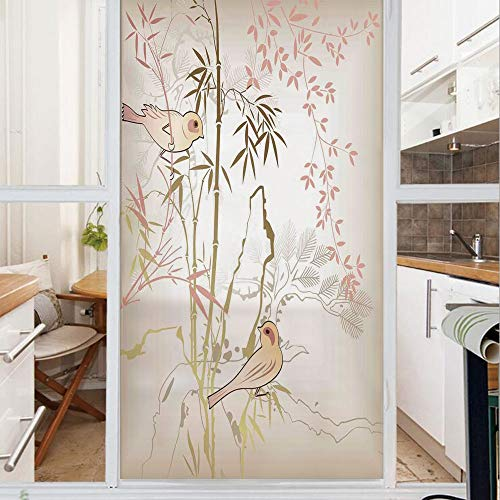 Decorative Window Film,No Glue Frosted Privacy Film,Stained Glass Door Film,Nature Bamboo Leaf and Bird Design Illustration Floral Animal Print,for Home & Office,23.6In. by 35.4In