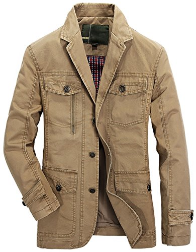 (Chouyatou Men's Casual Notched Collar Multi Pockets 3 Buttons Lightweight Blazer Jackets (Large, Khaki))