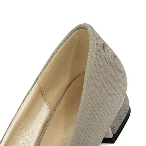 AmoonyFashion Womens Blend Materials Closed-Toe Low-Heels Pull-On Pumps-Shoes Gray LeOtM1O