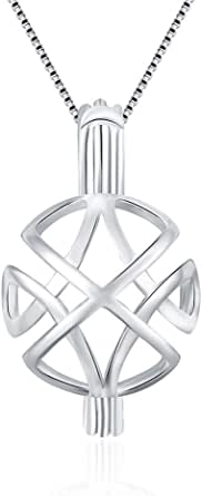 925 Sterling Silver Celtic Knot Cross Pendants for Women Jewelry Faith Hope Love Round Pearl Cage Pendants for DIY Jewelry