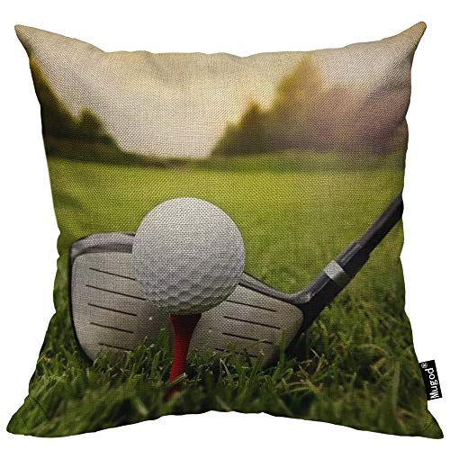 Mugod Play Golf Throw Pillow Golfball Golf Club on Grassland Red White Black Green Cotton Linen Square Cushion Cover Standard Pillowcase 18x18 Inch for Home Decorative Bedroom/Living Room/Car (Golf Throw)
