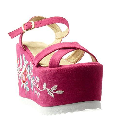 Angkorly - Chaussure Mode Sandale Mule plateforme femme fleurs brodé lanière Talon compensé plateforme 12.5 CM - Fuschia