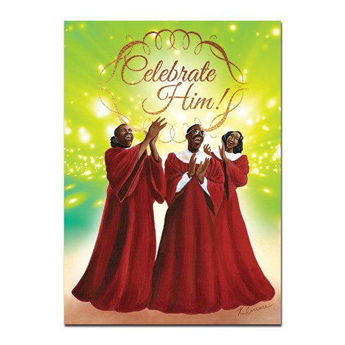 "Search : African American Expressions - Celebrate Him/ Choir Boxed Christmas Cards (15 cards, 5"" x 7"") C-924"