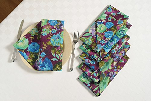 ShalinIndia Cotton Floral Print Multi Colored Cloth Napkins Set of 6 Table Linens 20 x 20 inches for Kitchen Dining Table]()