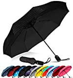 Repel Windproof Travel Umbrella with Teflon Coating (Pin Stripe)