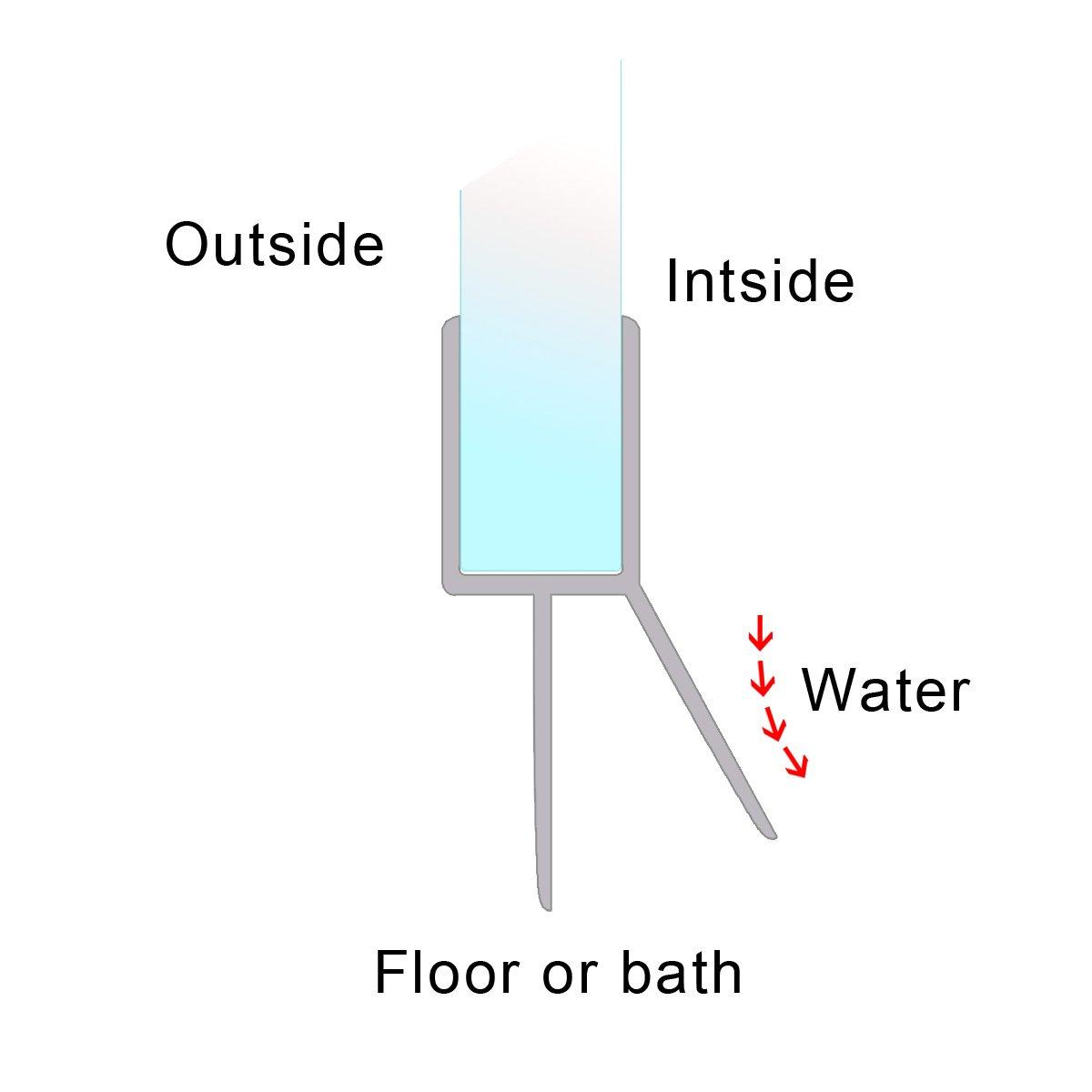 2/x 90/cm Joint de rechange pour /épaisseur de verre 8/mm Eau D/éflecteurs dair Joint de douche cascade Protection Cabine de douche de douche de douche profil Joint de porte