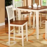 Wooden Imports VN10-WC-BU&CH 2 Vernon Counter Height Stools with Wood Seat - Buttermilk and Cherry