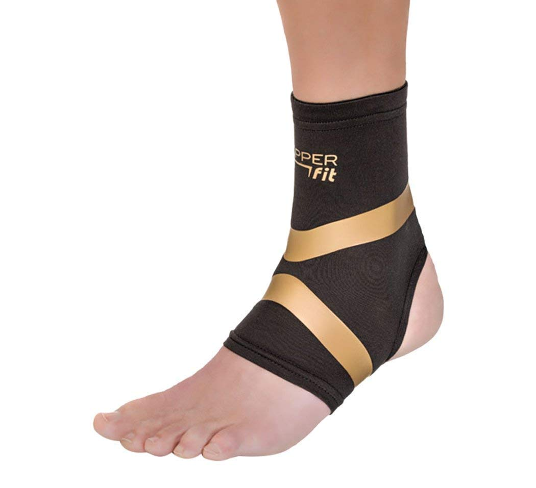 Copper Fit Pro Series Performance Compression Ankle Sleeve, Black with Copper Trim, X-Large by Copper Fit