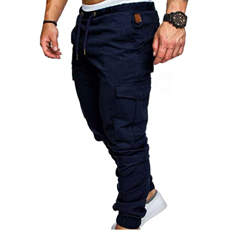 Amazon.com: MuLuo Mens Pocket Pants Casual Elastic String ...