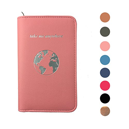 Phone Charging Passport Holder Travel Case w/ Power Bank – iPhone, Galaxy & More - RFID Blocking (blush)