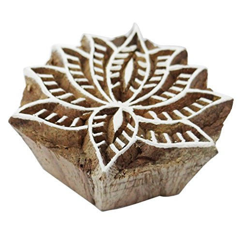Lotus Flower Design Handmade Wooden Block Indian Traditional Fabric Printing Stamp