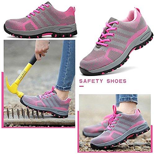 CHNHIRA Femme Chaussure de Sécurité Respirante Chaussures de Travail Unisexes Semelle de Protection Rose1 XiNNkr