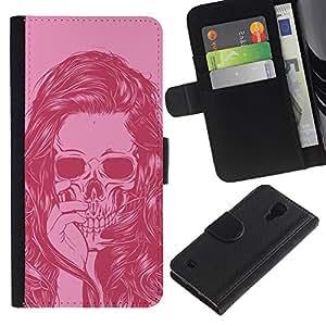 Be-Star la tarjeta de Crédito Slots PU Funda de cuero Monedero caso cubierta de piel Para Samsung Galaxy S4 IV I9500 ( Pink Skull Girl Woman Vignette Death )