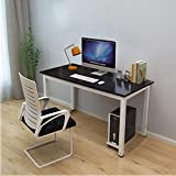 Office Computer Desk 45″, Modern Style Steel Frame Wooden Table – Computer Desk for Study PC Laptop Writing Table Easy to Install Stationary Workstation Home & Office (45.2″x 23.6″x29.1″)-Black+White For Sale