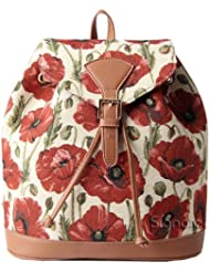 Signare Women's Fashion Canvas Tapestry Flap Buckle Pull String Fashion Casual Rucksack Backpack with Poppy Flower...