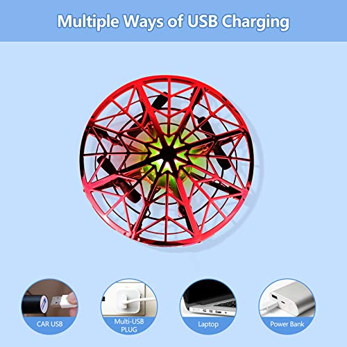 UTTORA Drone for Kids, Hand Operated UFO Flying Toy Flying Ball RC Drone Toy Helicopter for Boys & Girls with 360 Degree Rolling (Red)