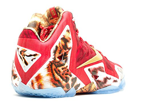 Nike Heren Lebron Xi Premium Challenge Rood / Metallic Goud-ic Synthetische Maat