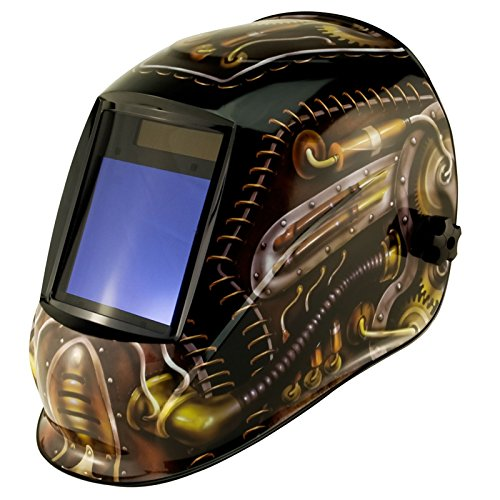 True-Fusion Big-1 Steampunk IQ2000 Solar Powered Auto Darkening Welding Helmet Hood Grind mask with Massive View Area (98mm x 87mm - 3.85x3.45 inches) FREE Storage Bag, Spare Lenses and Spare Sweatband included by True-Fusion