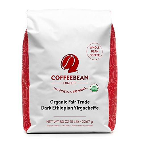 Fair Trade Whole Bean - Coffee Bean Direct Dark Ethiopian Yirgacheffe, Organic Fair Trade Whole Bean Coffee, 5-Pound Bag