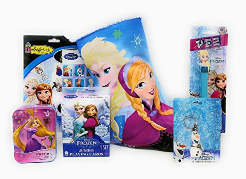 Disney Frozen Satin Christmas Stocking Set filled with SIX Stocking Stuffers Playing Cards Olaf KeyChain Anna or Elsa Pez Dispenser and Three Candy Packs and (Satin Christmas Stocking)