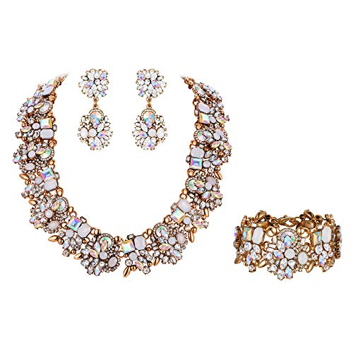 Flyonce Women's Crystal Vintage Floral Chunky Choker Jewellery Set Clear AB Antique Gold-Tone ()