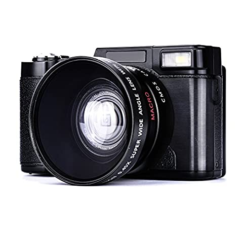 Digital Camera Camcorder Full HD Camcorders 1080p 24.0 Megapixels Vlogging Camera Include 52MM Wide Angle Close Up - Memory Lithium Ion Camcorder Battery