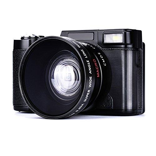 COMI Full HD Camcorder 1080p Digital Camera 24.0 Megapixels 3 Inch Screen Include 52MM Wide Angle Lens Video Recorder 4x Digital Zoom