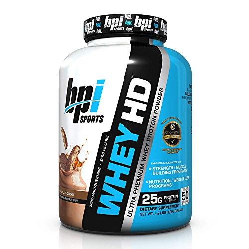 BPI Sports Whey-HD Ultra Premium Whey Protein Powder, Chocolate Cookie, 4.2 lbs