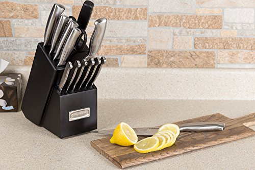 Wooden Kitchen Knife Block Set, 16-Piece Stainless Steel Cutlery set Bundle - Chef Knife, Bread Knife, Santoku Knife, Serrated Utility Knife,and Sharpener & Cloth 7