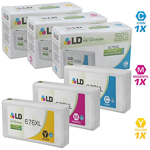 LD Remanufactured Epson 676 / 676XL / T676XL Set of 3 HY Ink Cartridges (Cyan, Magenta, Yellow) for use in WorkForce WP-4020, WP-4530 & WorkForce Pro WP-4010, WP-4023, WP-4090, WP-4520, WP-4533