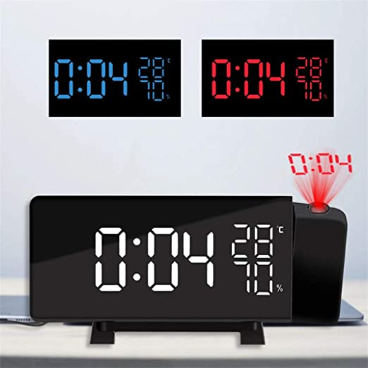 FENGCLOCK Proyector Digital Giratorio, Reloj Despertador, Reloj ...
