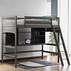 Bedroom Solid Wood Twin Size Loft Bed, Study High Loft Bed Frame with Ladder and Desk for Kids, No Box Spring Needed, Gray bunk beds