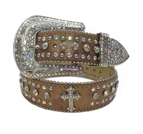 Deal Fashionista DARK BEIGE CROSS Concho Western Rhinestone Bling Studded Removable Buckle Belt - Cowgirl Concho Belt