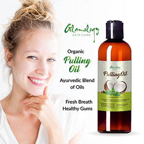 Glamology Organic Pulling oil with Coconut,Neem,Clove .100% NATURAL with Great Taste,Very effective and Light. (8 oz.Bottle) (Benefits Of Oil Pulling With Sesame Oil)