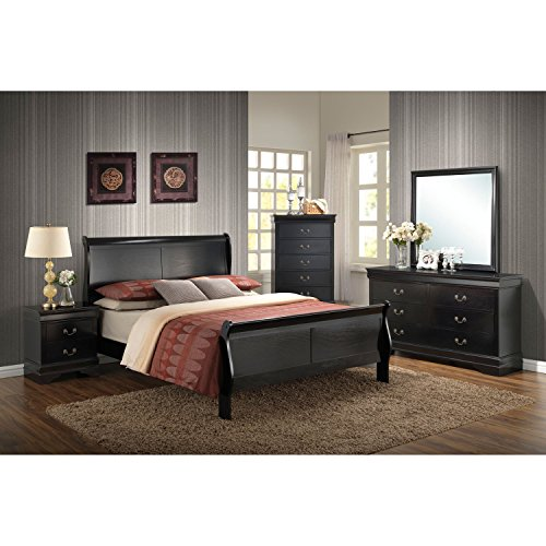 Cambridge 98102A5K1-BK 5 Piece Piedmont Bedroom Suite, King, Black King Sleigh Bedroom Suite