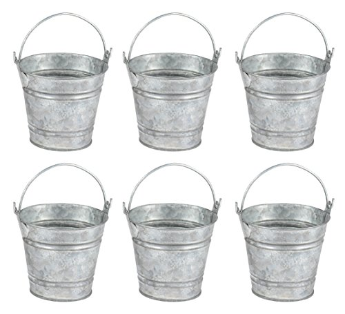 Small Tin Buckets (Juvale Mini Metal Buckets with Handles - 6-Pack Party Tin Pail Containers for Gifts, Candy, Party Favors, 2.8 Inches)