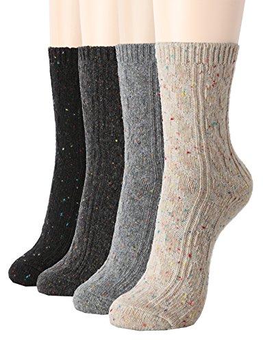 OSABASA Wool Crew Socks 4 Pairs 1 Set With Various Printing SET1, Shoe Size 8-11 (Sock Size 9.5