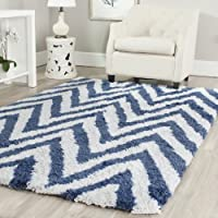Safavieh Chevron Shag Collection SG250A Handmade Ivory and Blue Area Rug (6 x 9)